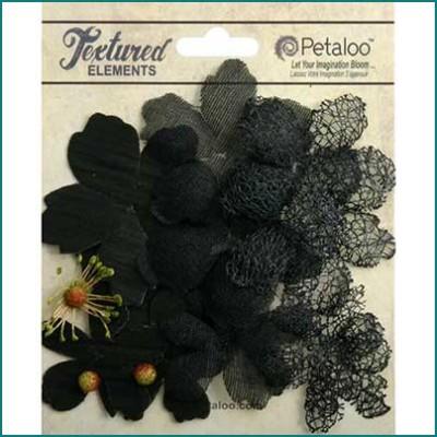 Petaloo textured layers flowers black