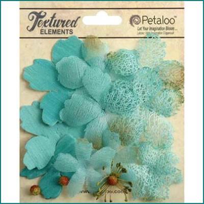 Petaloo textured layers flowers teal