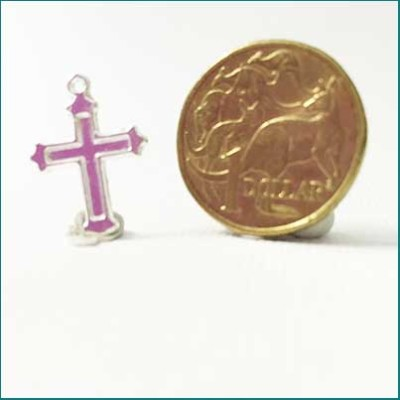 silver cross metal charm