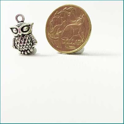small owl metal charm