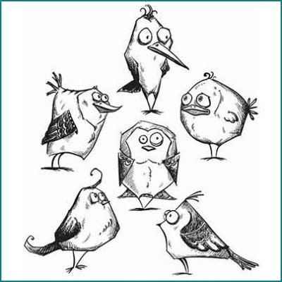 crazy birds stamps