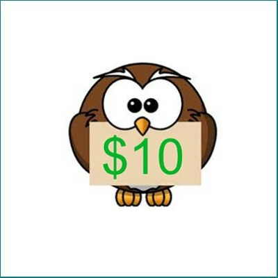 owl holding 410 gift card