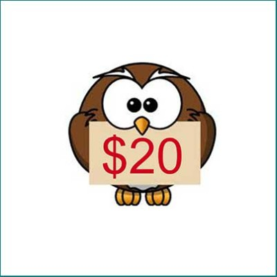 owl holding $20 gift card