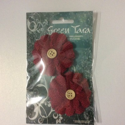 Green Tara burlap flower red