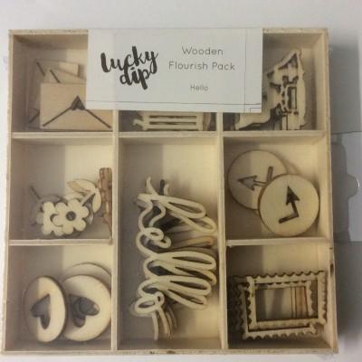Hello Wooden Flourish Pack